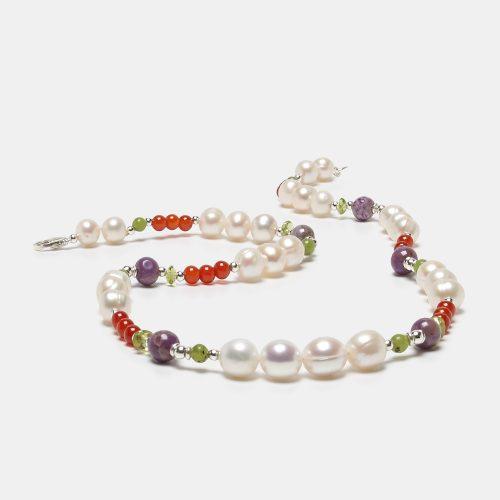 Collar de Perlas cultivadas, agata y olivino
