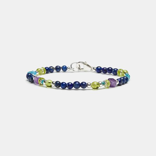 Pulsera de lapislázuli, apatito y amatista. Diseño de la marca Diorita